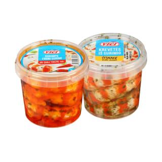 Didžiosios surimi krevetės aliejuje VIČI, 320 g (2 rūšys)