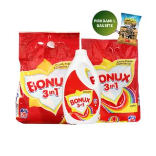 Skalbimo milteliams ar skalbikliams BONUX COLOR, 20–40 sk. (3 rūšys)