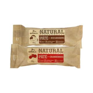 Sterilizuotas paštetas su grybais ar spanguolėmis BIOVELA, 150 g (2 rūšys)