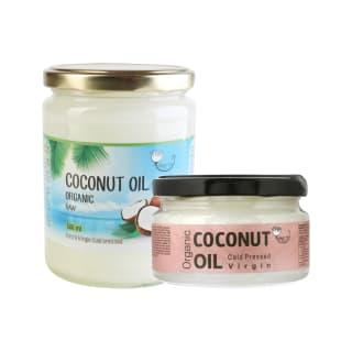Ekologiškam šalto spaudimo nerafinuotam kokosų aliejui AMRITA, 200–500 ml (2 rūšys)