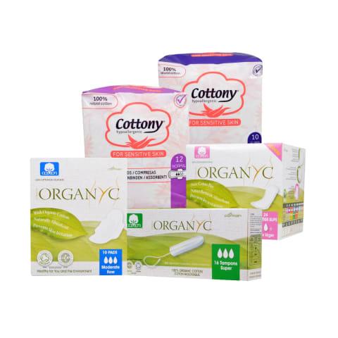 Higieniniams įklotams, paketams ir tamponams ORGANYC ir COTTONY