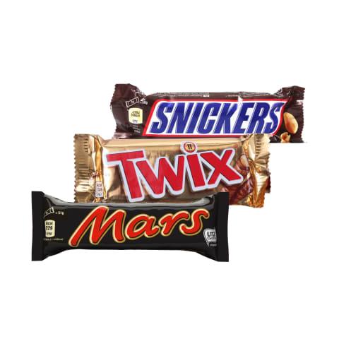 Šokoladiniams batonėliams SNICKERS, TWIX ir MARS, 50 - 51 g (3 rūšys)