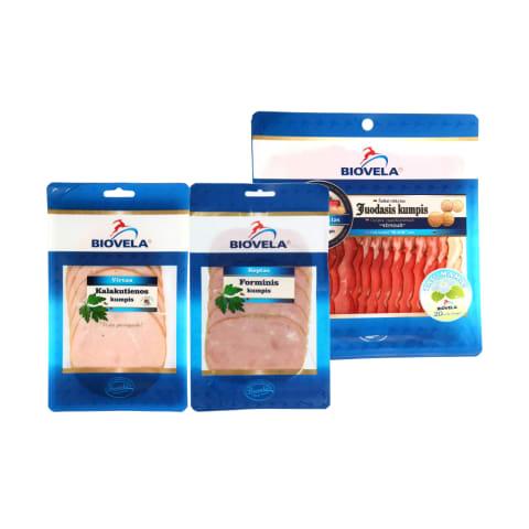 Mėsos gaminiams griežinėliais BIOVELA, 70 - 200 g (12 rūšių)