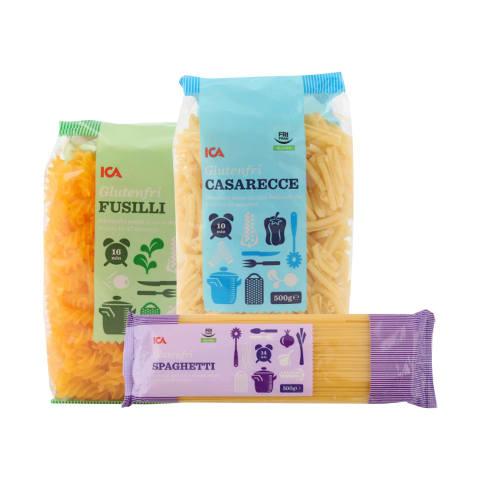 Makaronams be glitimo ICA, 500 g (3 rūšys)