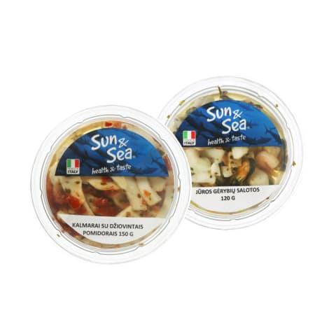 Jūros gėrybių salotos SUN & SEA, 120- 150 g (2 rūšys)