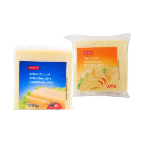 RUSIŠKAS ar OLANDIŠKAS sūris RIMI, 45% rieb., 500 g (2 rūšys)