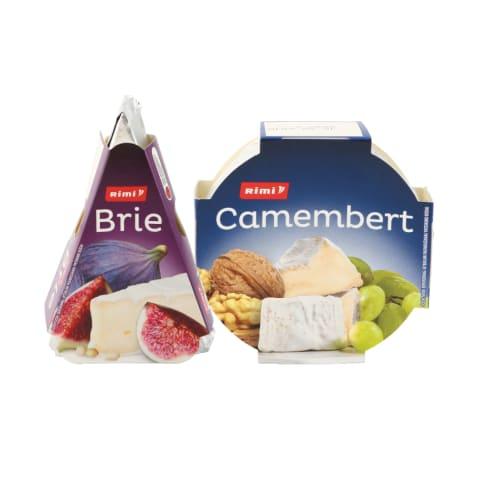 Sūris su baltuoju pelėsiu CAMEMBERT ar BRIE, 120–125 g (2 rūšys)