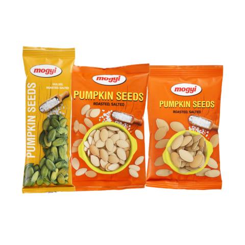 Skrudintoms ir sūdytoms moliūgų sėkloms MOGYI, 50–150 g (3 rūšys)